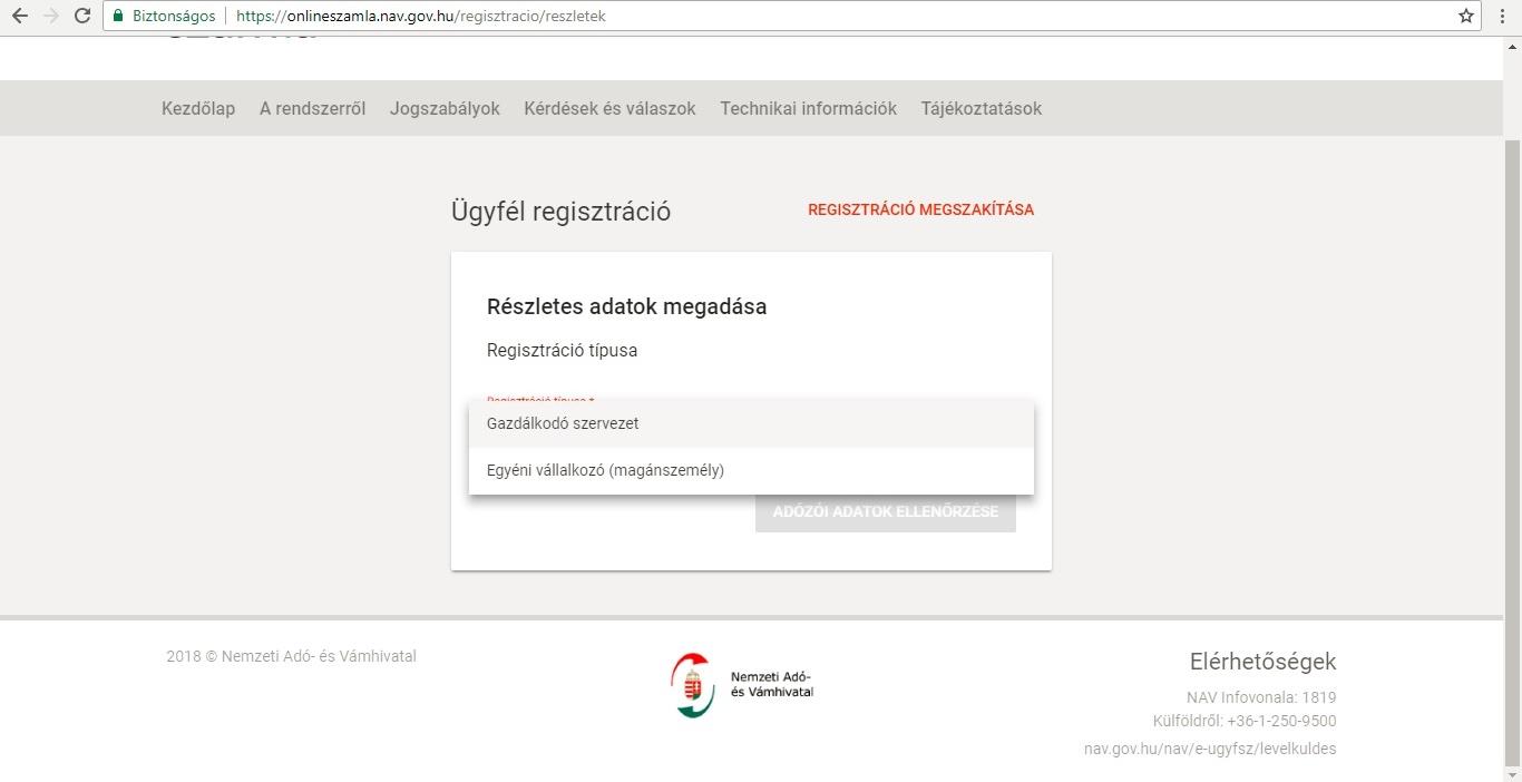 online számla regisztráció